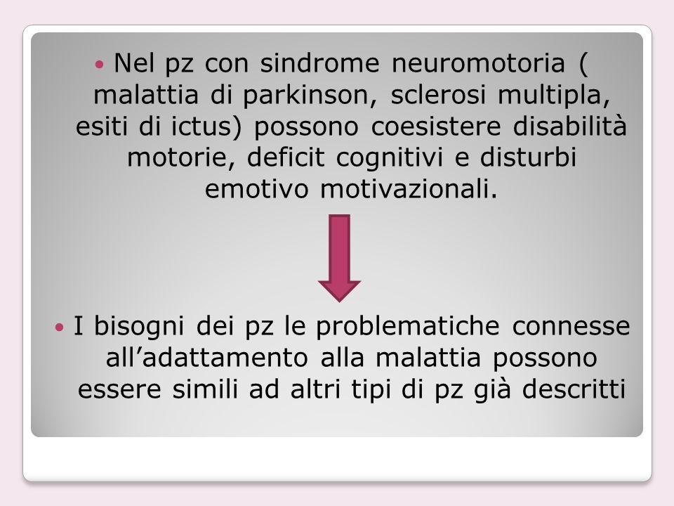 Nel pz con sindrome neuromotoria ( malattia di parkinson, sclerosi multipla, esiti di ictus) possono coesistere disabilità motorie, deficit cognitivi e disturbi emotivo motivazionali.
