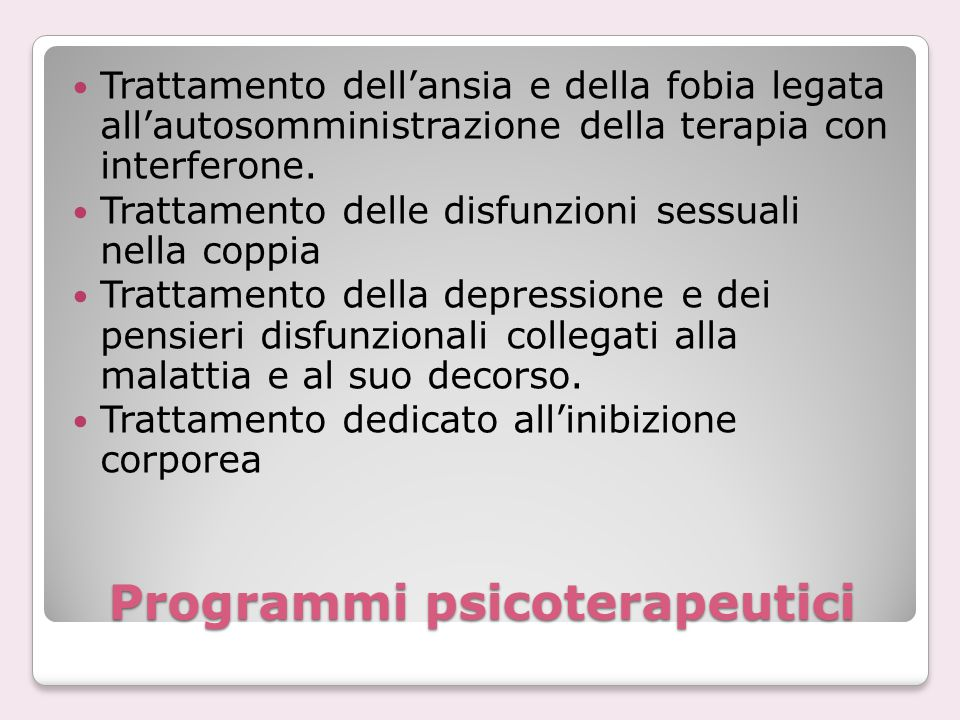 Programmi psicoterapeutici