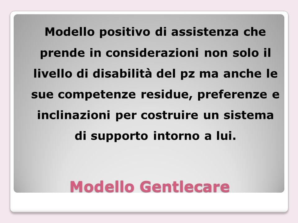 Modello positivo di assistenza che prende in considerazioni non solo il livello di disabilità del pz ma anche le sue competenze residue, preferenze e inclinazioni per costruire un sistema di supporto intorno a lui.