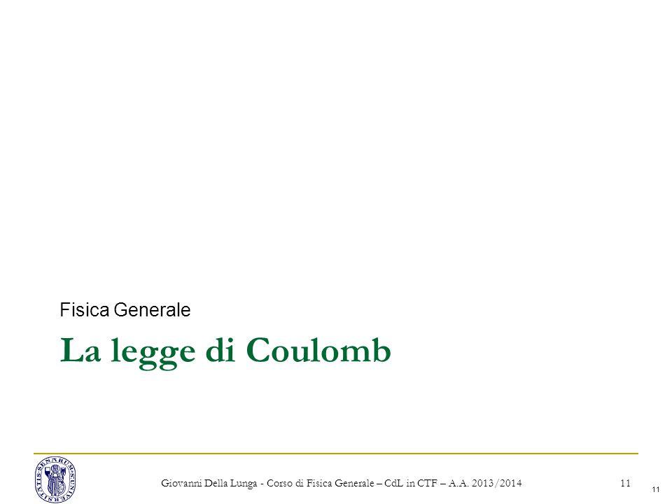 La legge di Coulomb Fisica Generale
