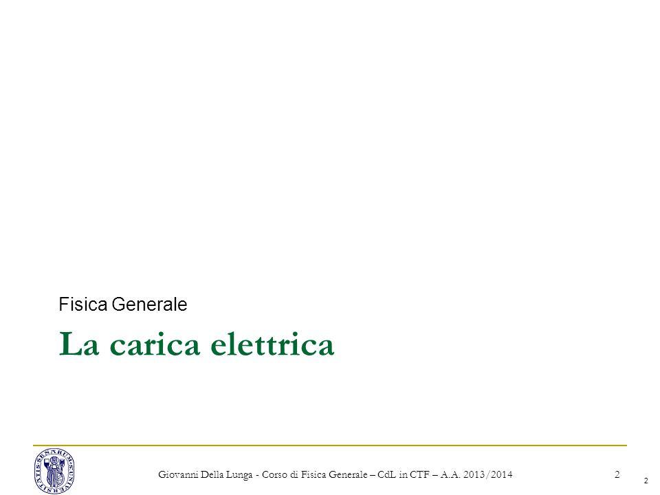 La carica elettrica Fisica Generale