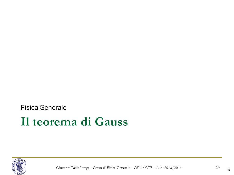 Il teorema di Gauss Fisica Generale