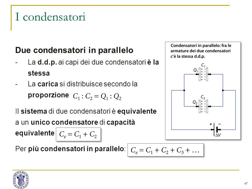 I condensatori Due condensatori in parallelo