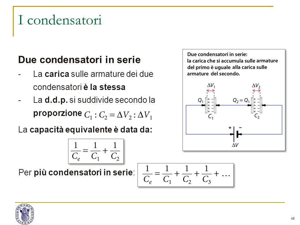 I condensatori Due condensatori in serie