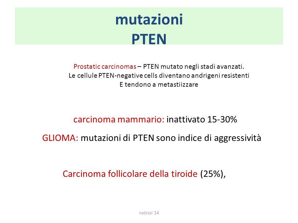 mutazioni PTEN carcinoma mammario: inattivato 15-30%