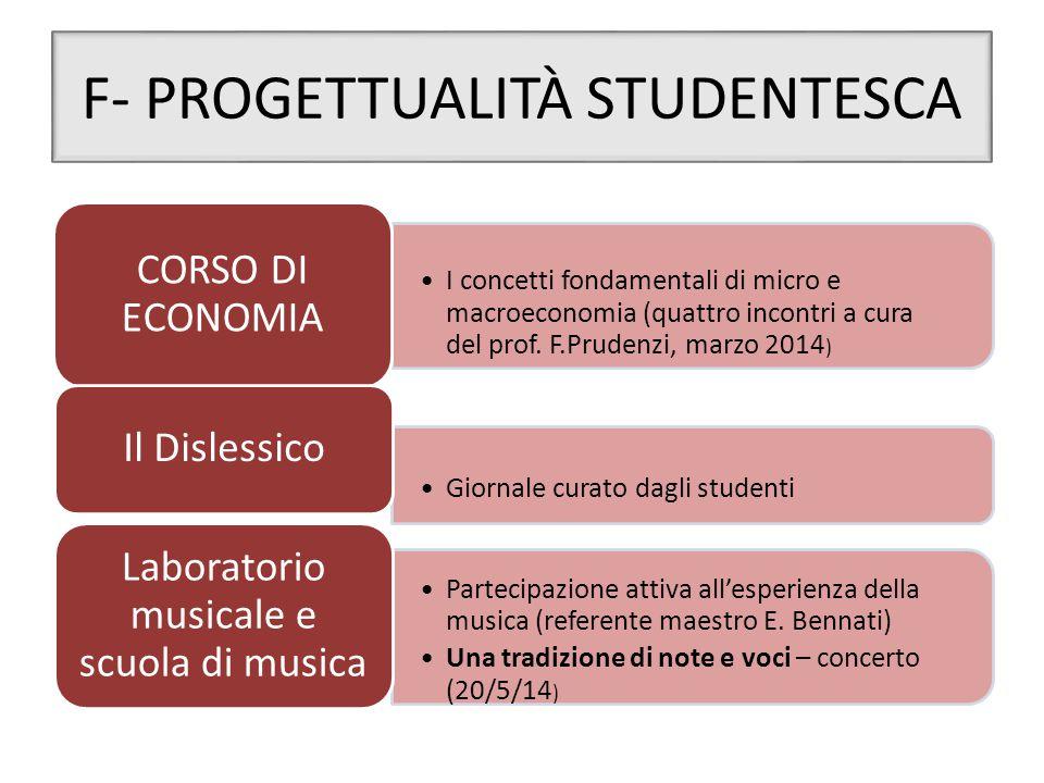 F- PROGETTUALITÀ STUDENTESCA
