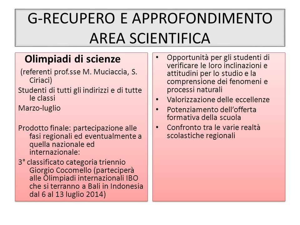G-RECUPERO E APPROFONDIMENTO AREA SCIENTIFICA