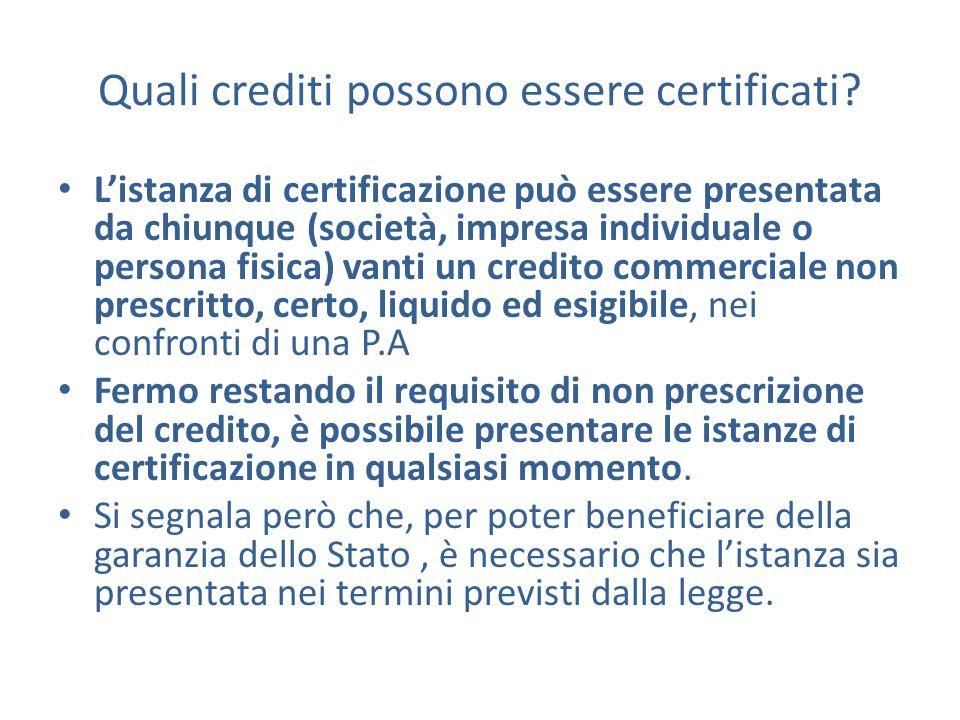 Quali crediti possono essere certificati