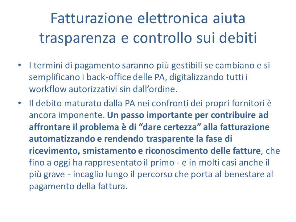Fatturazione elettronica aiuta trasparenza e controllo sui debiti