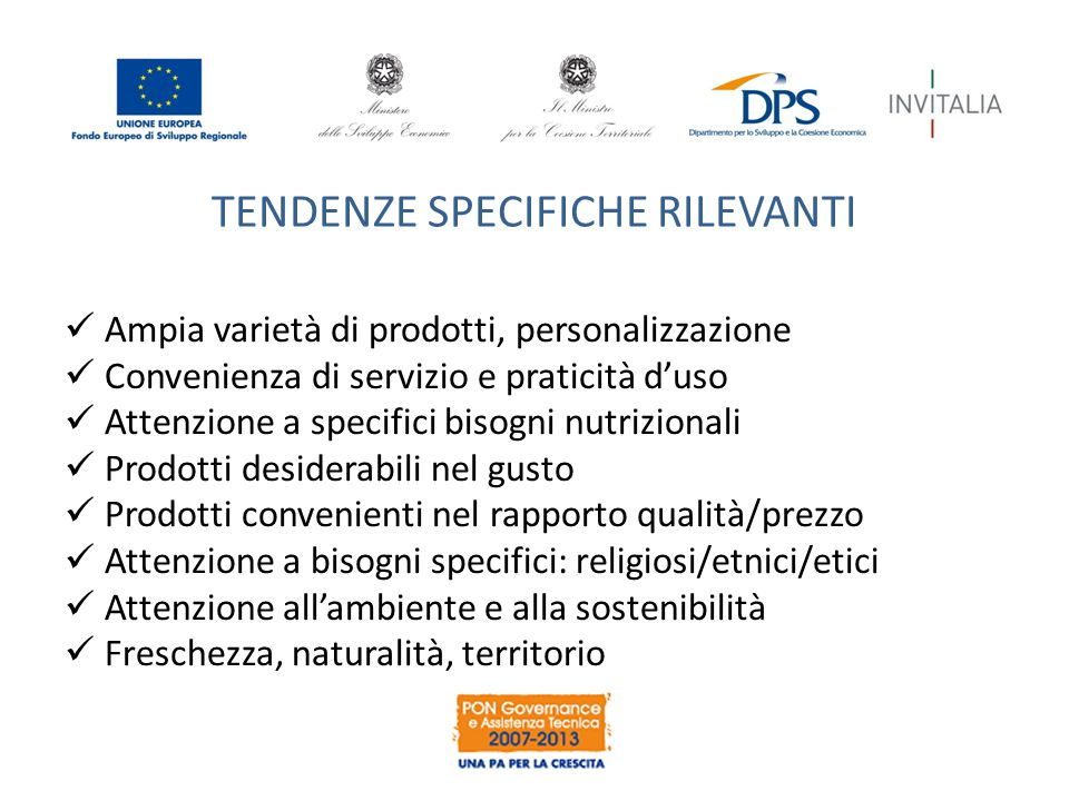 TENDENZE SPECIFICHE RILEVANTI