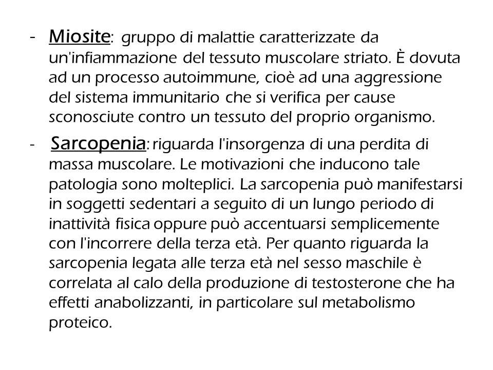 Miosite: gruppo di malattie caratterizzate da un infiammazione del tessuto muscolare striato. È dovuta ad un processo autoimmune, cioè ad una aggressione del sistema immunitario che si verifica per cause sconosciute contro un tessuto del proprio organismo.