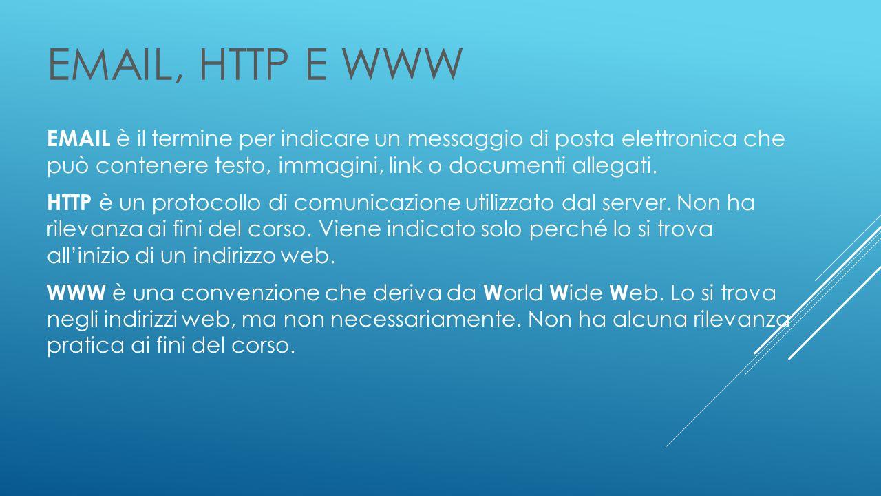 EMAIL, HTTP e WWW EMAIL è il termine per indicare un messaggio di posta elettronica che può contenere testo, immagini, link o documenti allegati.