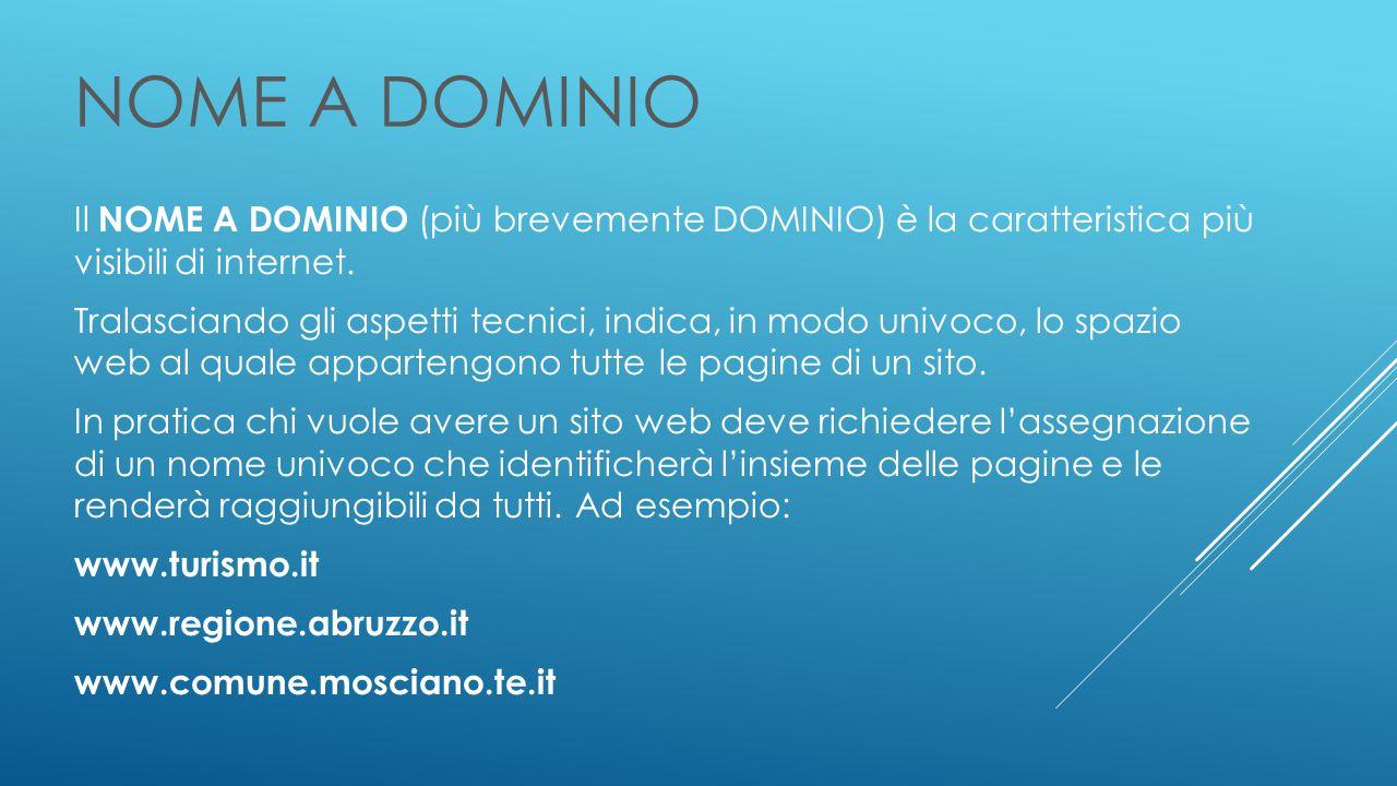 NOME A DOMINIO Il NOME A DOMINIO (più brevemente DOMINIO) è la caratteristica più visibili di internet.