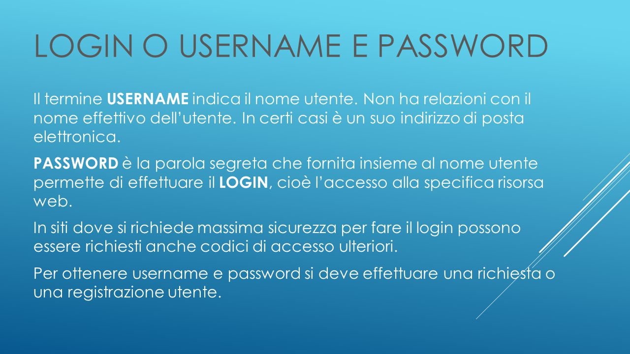 LOGIN o USERNAME e PASSWORD