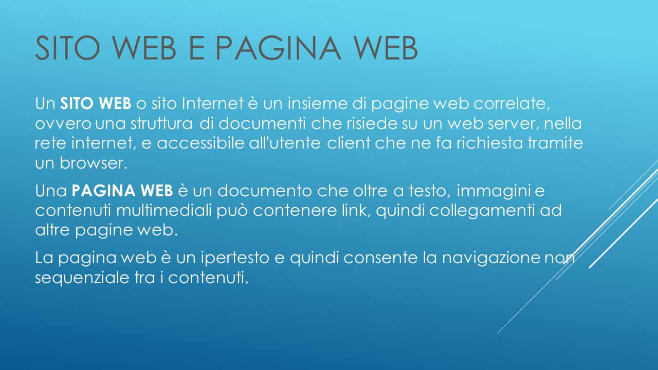SITO WEB E PAGINA WEB