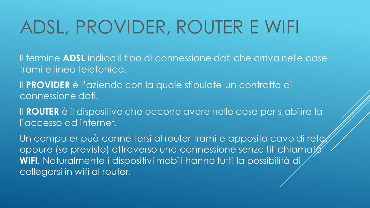 ADSL, PROVIDER, ROUTER e WIFI