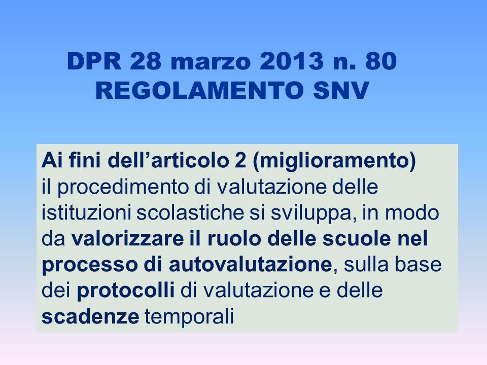DPR 28 marzo 2013 n. 80 REGOLAMENTO SNV