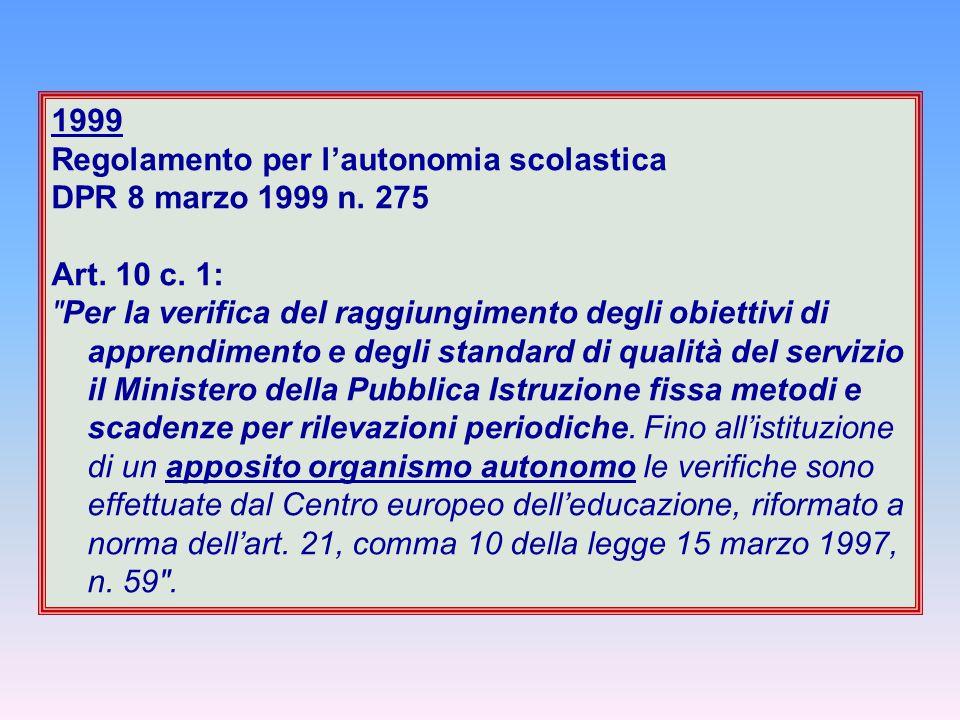 Regolamento per l'autonomia scolastica DPR 8 marzo 1999 n. 275