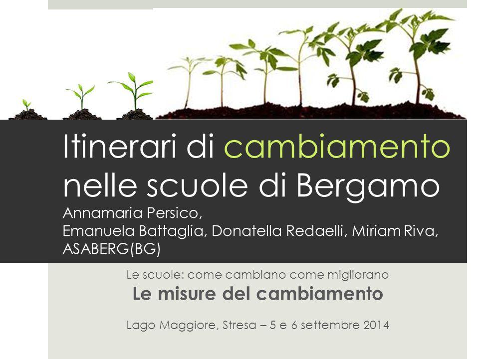 Itinerari di cambiamento nelle scuole di Bergamo Annamaria Persico, Emanuela Battaglia, Donatella Redaelli, Miriam Riva, ASABERG(BG)