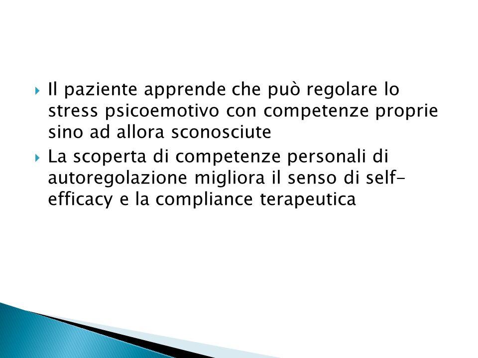 Il paziente apprende che può regolare lo stress psicoemotivo con competenze proprie sino ad allora sconosciute