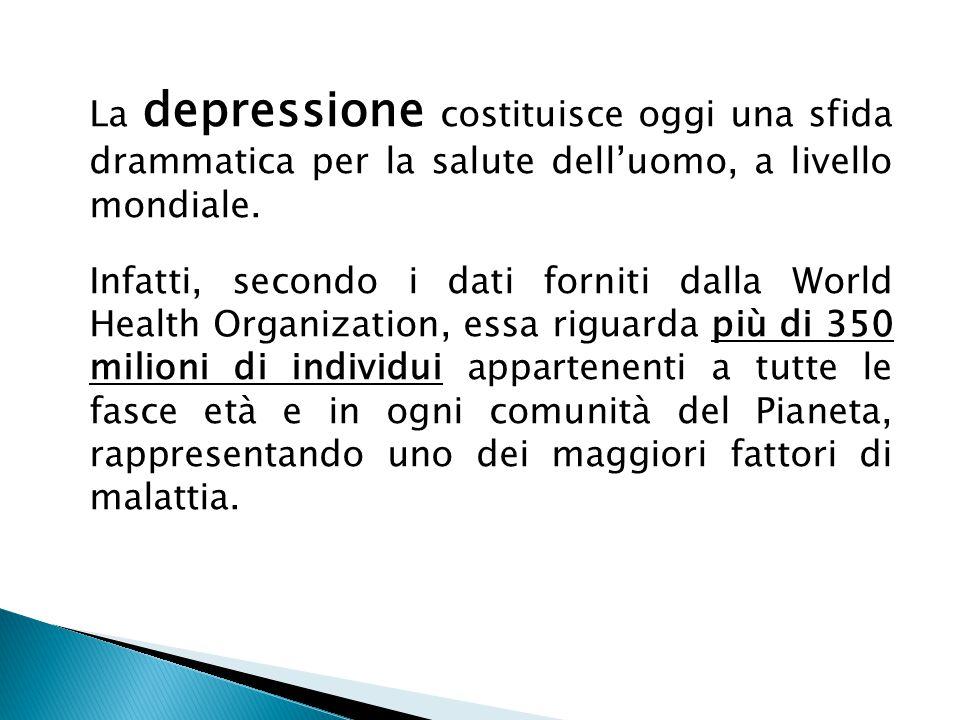 La depressione costituisce oggi una sfida drammatica per la salute dell'uomo, a livello mondiale.
