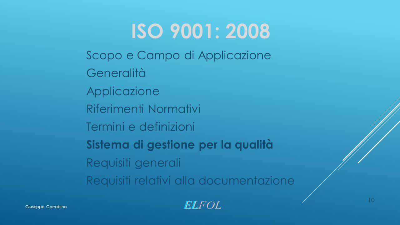 ISO 9001: 2008 Scopo e Campo di Applicazione Generalità Applicazione