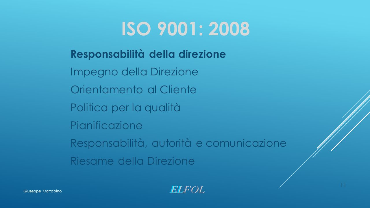 ISO 9001: 2008 Responsabilità della direzione Impegno della Direzione