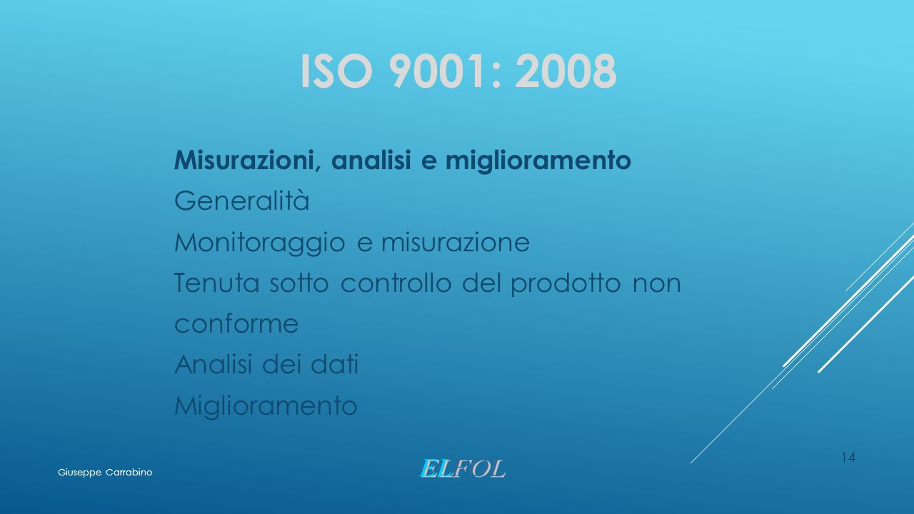 ISO 9001: 2008 Misurazioni, analisi e miglioramento Generalità
