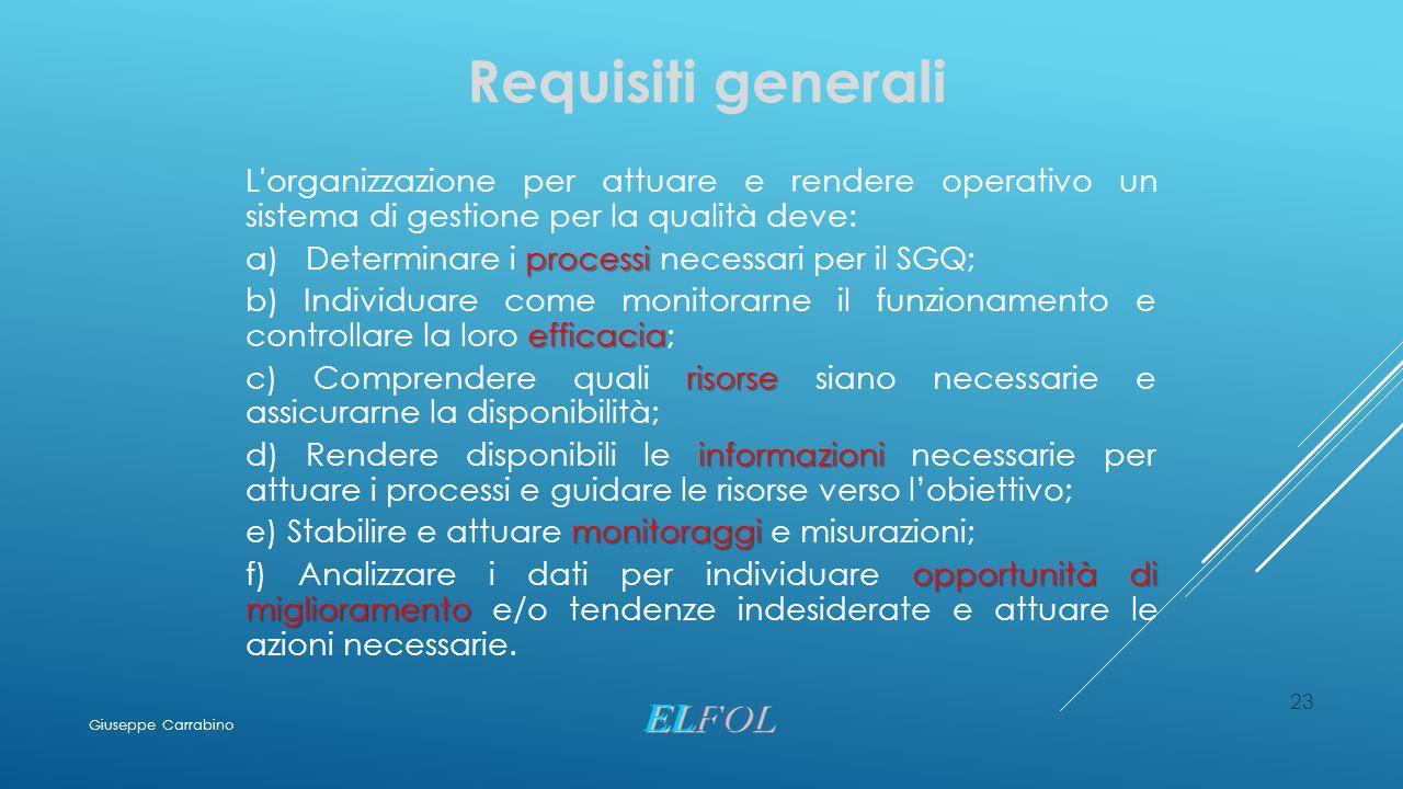 Requisiti generali L organizzazione per attuare e rendere operativo un sistema di gestione per la qualità deve: