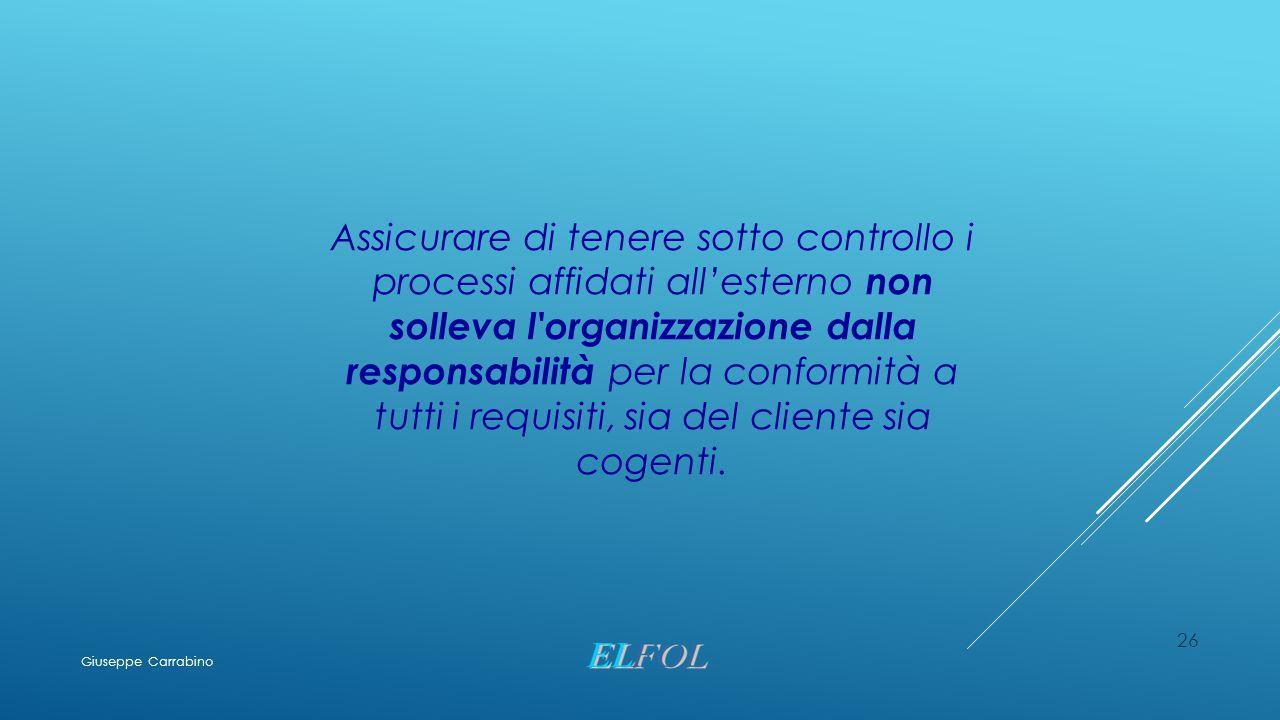 Assicurare di tenere sotto controllo i processi affidati all'esterno non solleva l organizzazione dalla