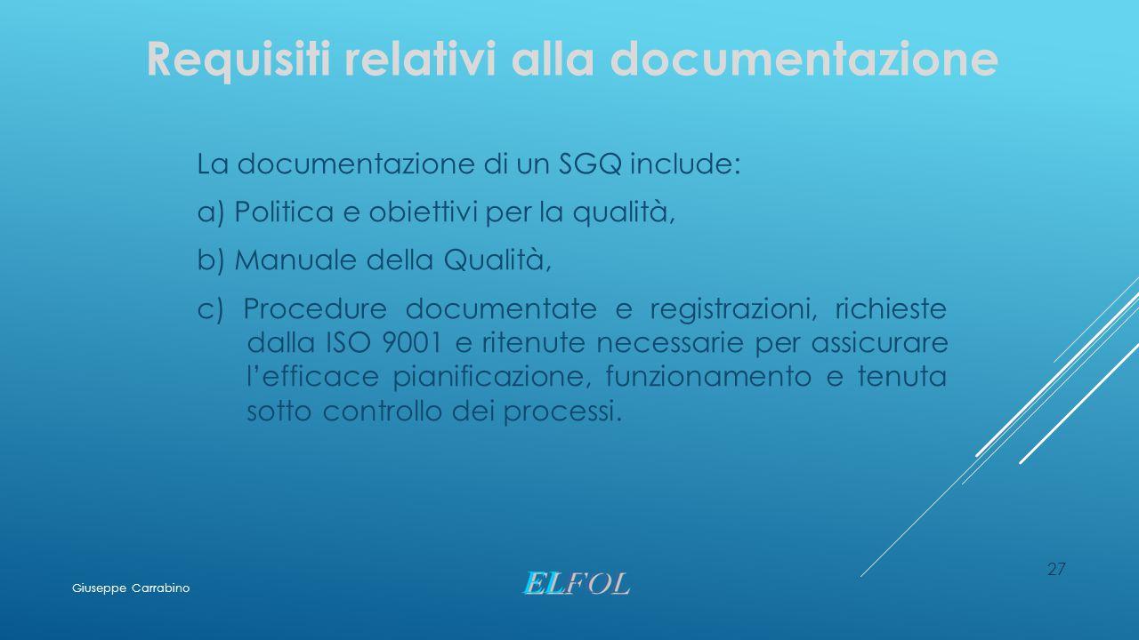 Requisiti relativi alla documentazione