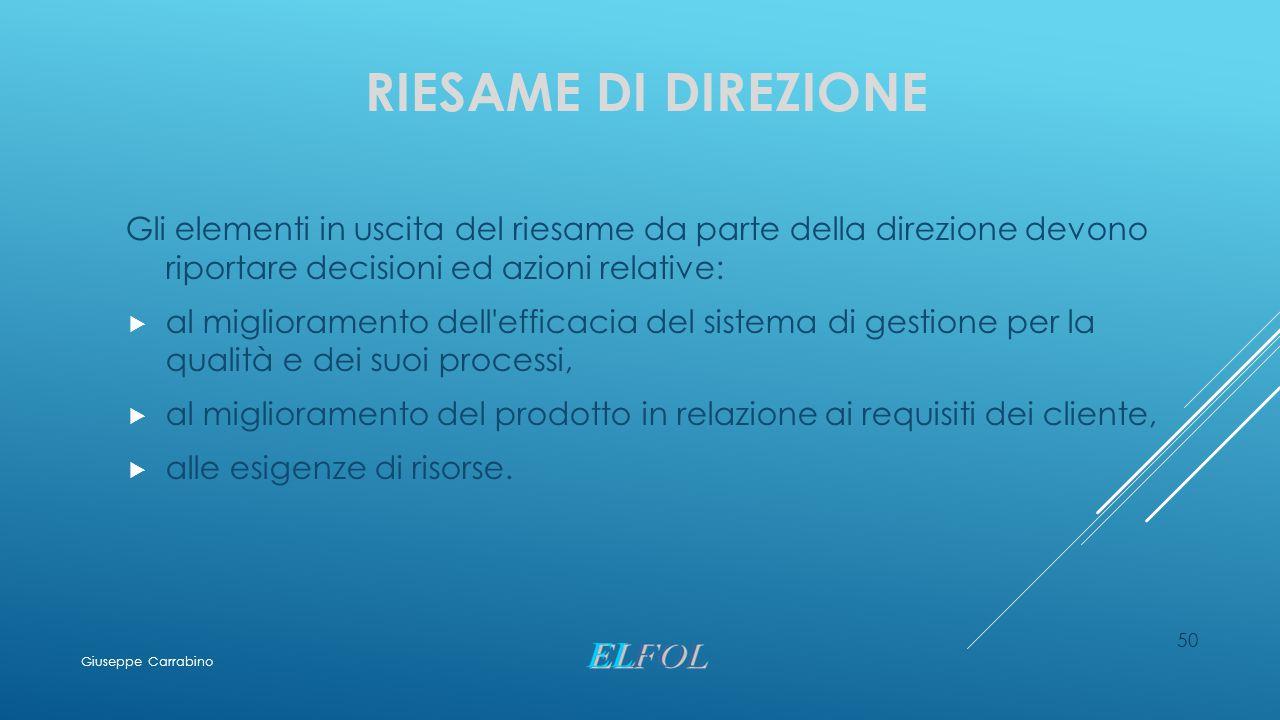 Riesame di direzione Gli elementi in uscita del riesame da parte della direzione devono riportare decisioni ed azioni relative: