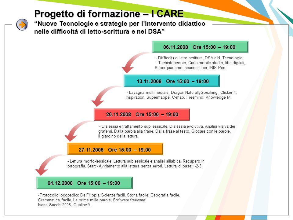 Progetto di formazione – I CARE Nuove Tecnologie e strategie per l'intervento didattico nelle difficoltà di letto-scrittura e nei DSA