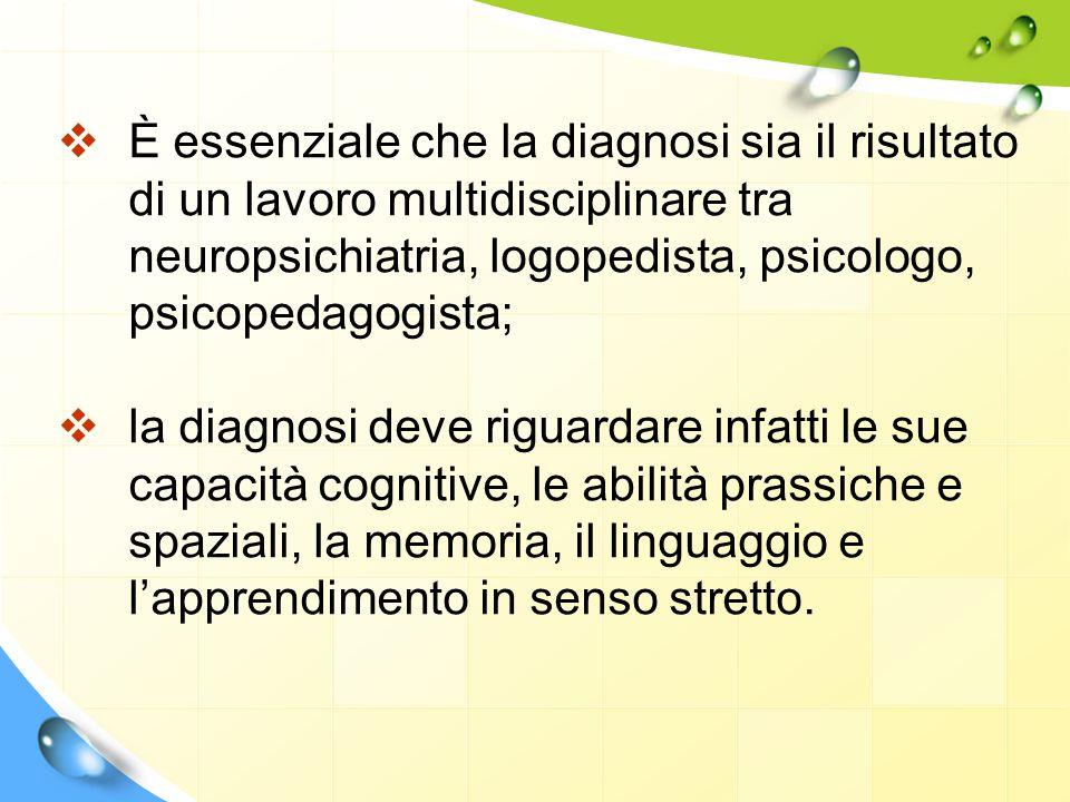 È essenziale che la diagnosi sia il risultato di un lavoro multidisciplinare tra neuropsichiatria, logopedista, psicologo, psicopedagogista;