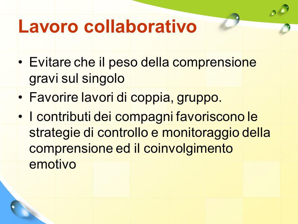 Lavoro collaborativo Evitare che il peso della comprensione gravi sul singolo. Favorire lavori di coppia, gruppo.