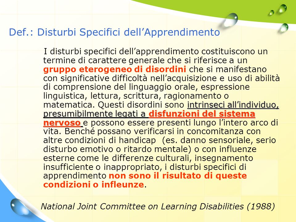 Def.: Disturbi Specifici dell'Apprendimento