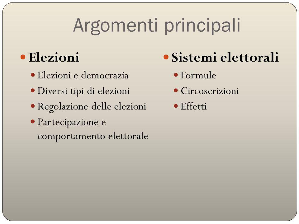 Argomenti principali Elezioni Sistemi elettorali Elezioni e democrazia
