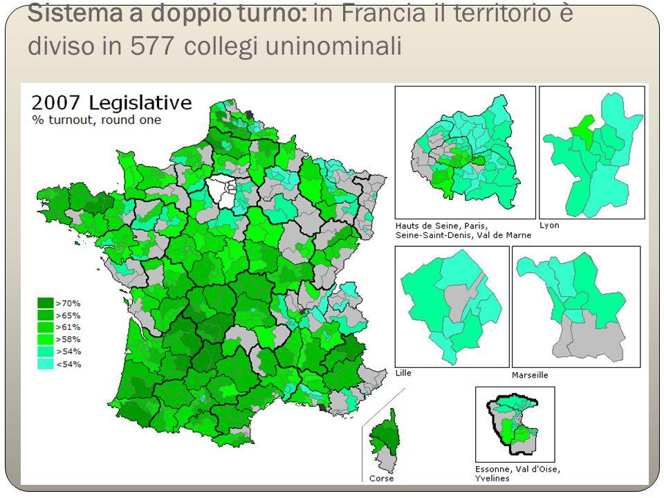 Sistema a doppio turno: in Francia il territorio è diviso in 577 collegi uninominali
