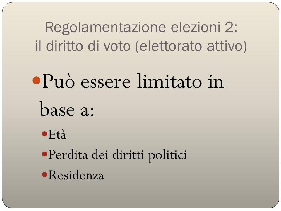 Regolamentazione elezioni 2: il diritto di voto (elettorato attivo)