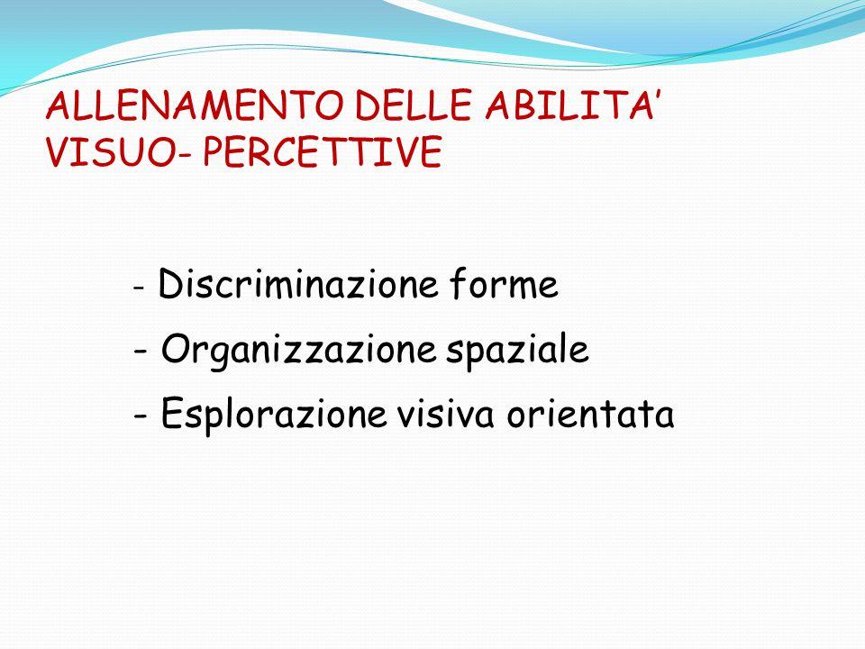 ALLENAMENTO DELLE ABILITA' VISUO- PERCETTIVE