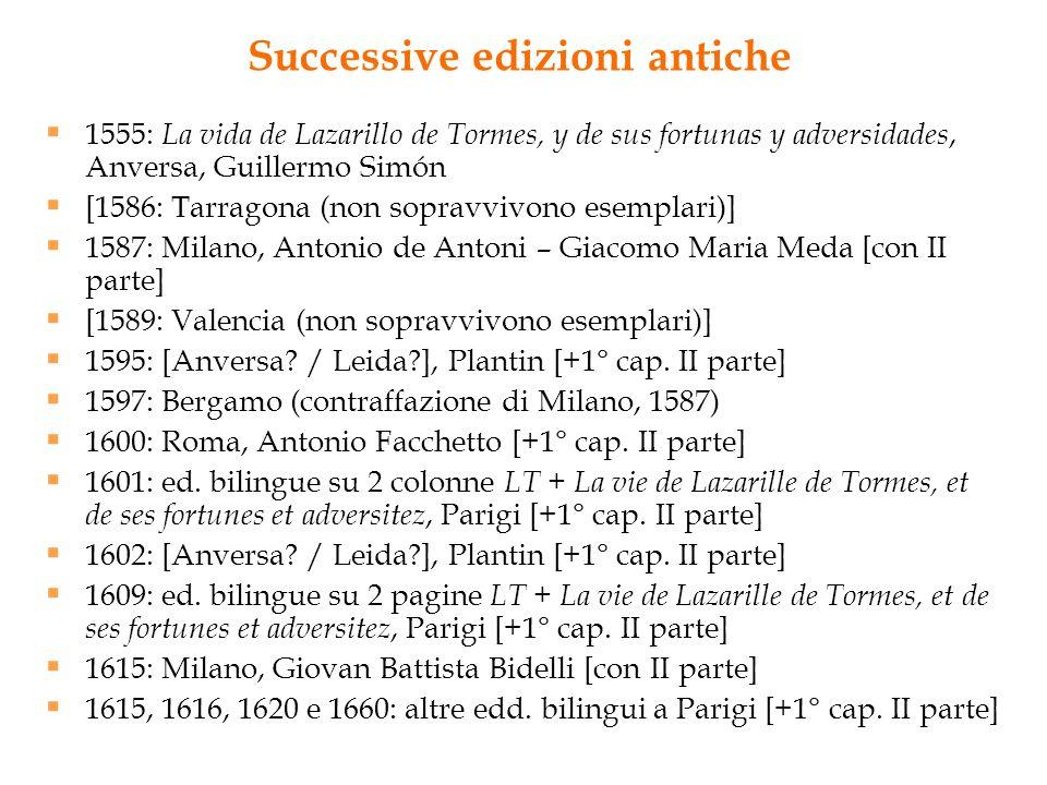 Successive edizioni antiche