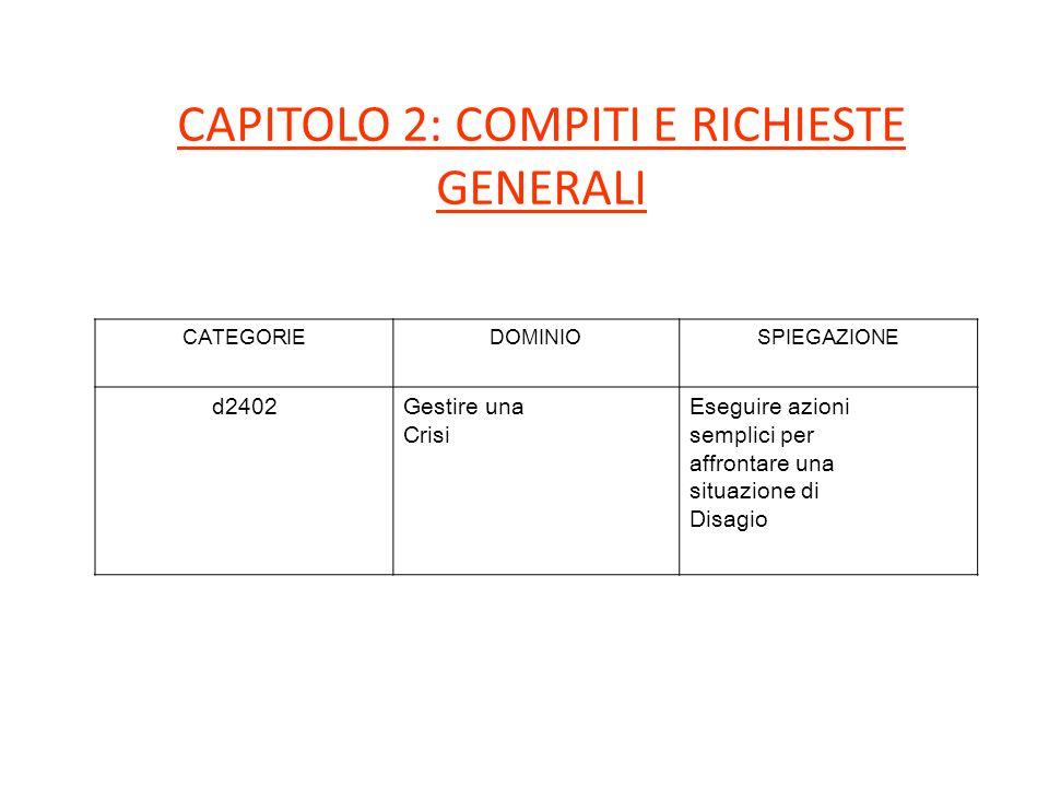 CAPITOLO 2: COMPITI E RICHIESTE GENERALI