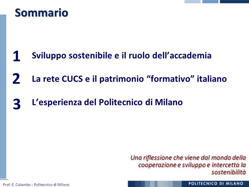 1 2 3 Sommario Sviluppo sostenibile e il ruolo dell'accademia