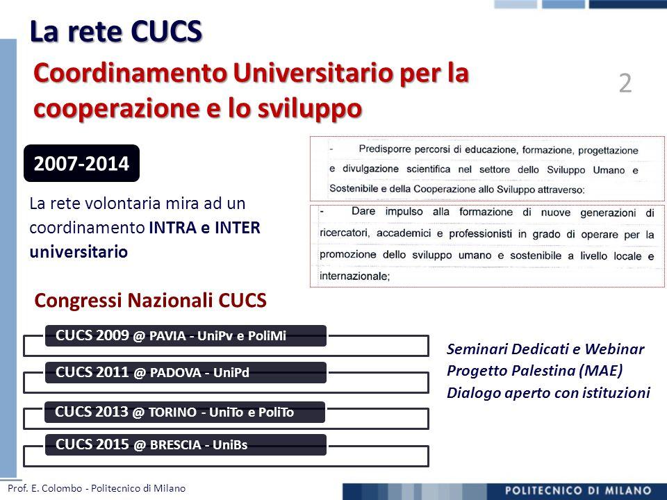 La rete CUCS Coordinamento Universitario per la cooperazione e lo sviluppo. 2. Congressi Nazionali CUCS.