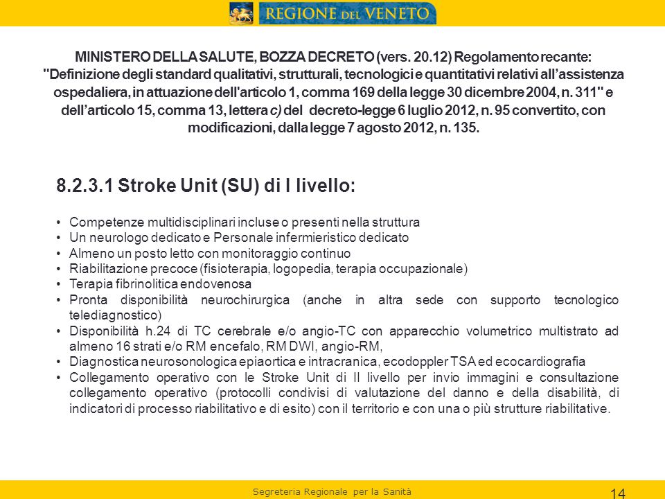 8.2.3.1 Stroke Unit (SU) di I livello: