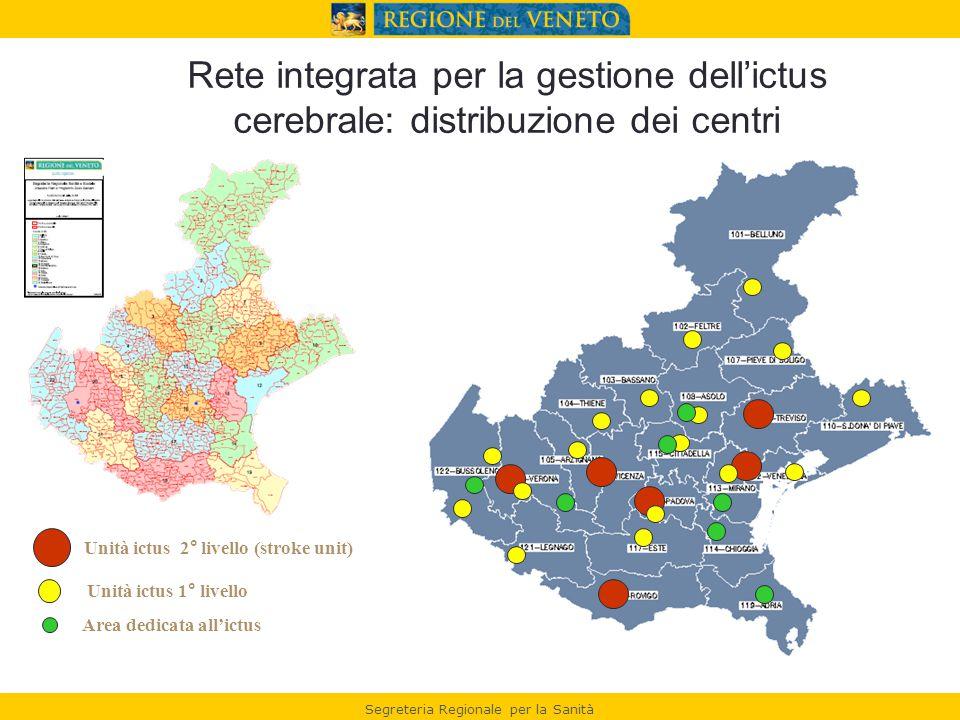 Rete integrata per la gestione dell'ictus cerebrale: distribuzione dei centri