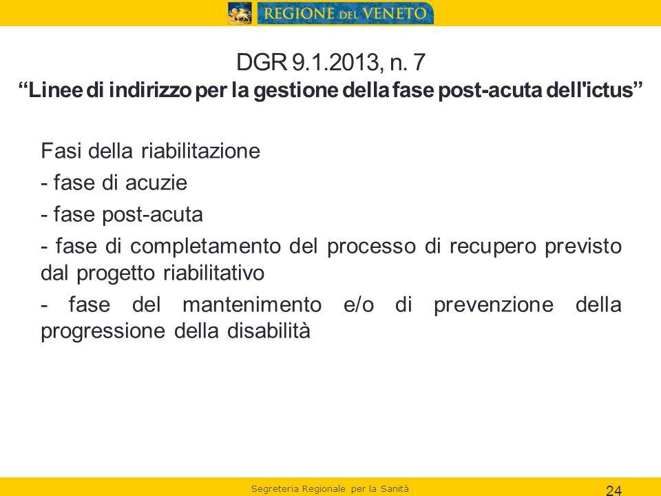 DGR 9.1.2013, n. 7 Linee di indirizzo per la gestione della fase post-acuta dell ictus