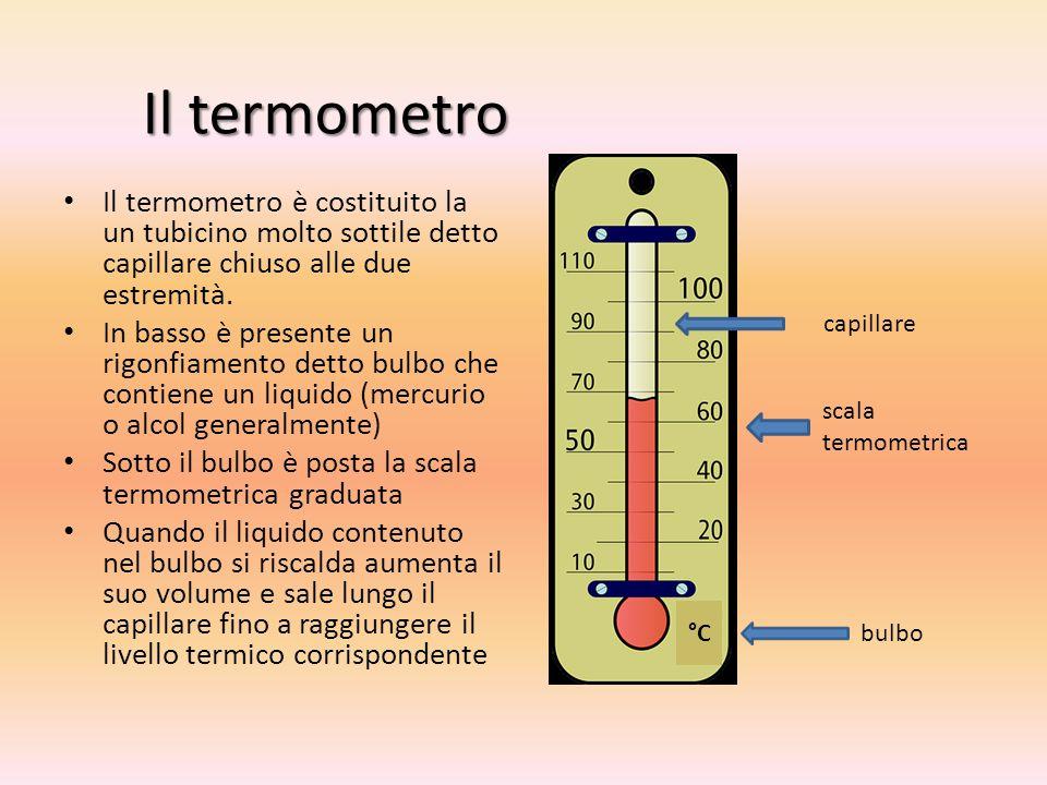 Il termometro Il termometro è costituito la un tubicino molto sottile detto capillare chiuso alle due estremità.