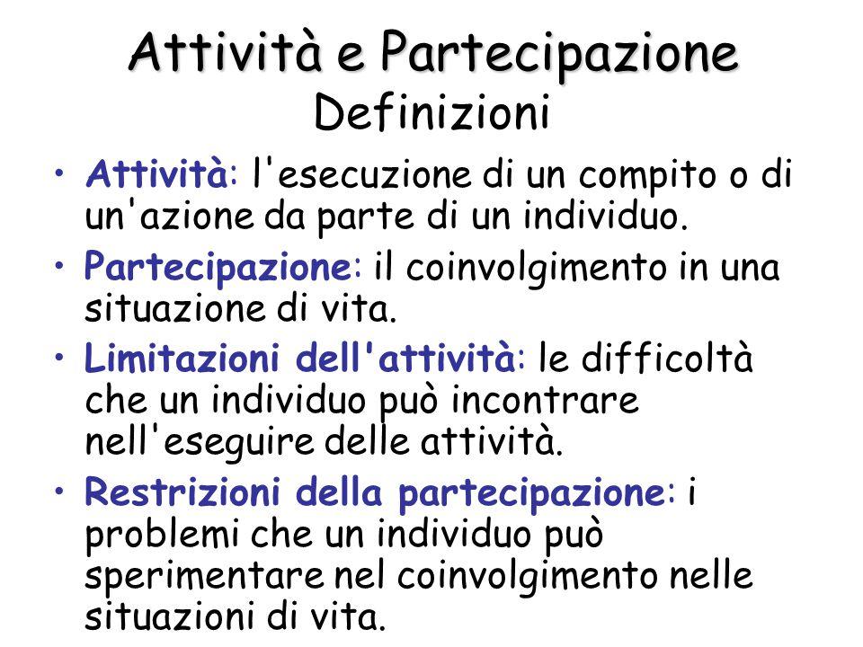 Attività e Partecipazione Definizioni