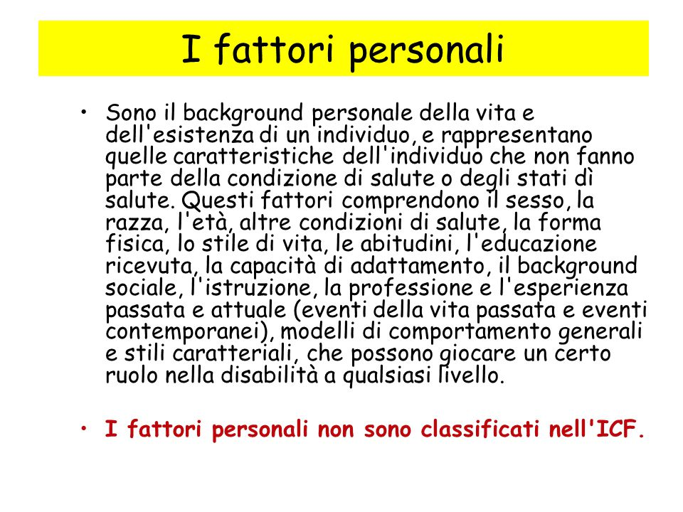 I fattori personali